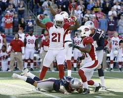 29) Arizona Cardinals - A look at the Cardinals road jerseys when they appeared in Foxborough this season.  Uni Watch also calls out the pants piping.