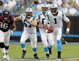 30) Carolina Panthers - Here's a look at the road 'white' jersey.  Uni Watch wonders what the designers at Nike could do with the Panthers look.
