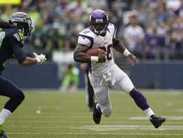 31) Minnesota Vikings - Here's a look at the road jerseys for the Vikings. Ignore the player on the left&#x3B; that team has it's own jersey 'issues'