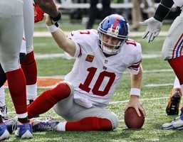 """18) New York Giants - Here's a look at the Giants road uniforms. The Giants seem to always wear light grey pants. Uni Watch also thinks it is weird for a team nicknamed """"Big Blue"""" to wear mostly red on the road."""