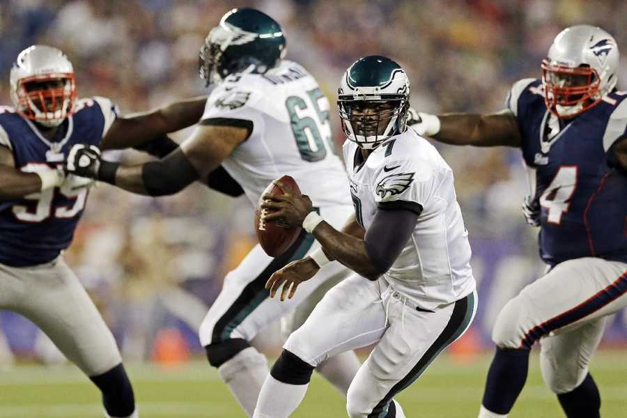 "5) Philadelphia Eagles - Here's a look at the Eagles ""white"" road jerseys in a game against the New England Patriots."