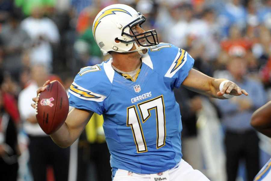12) San Diego Chargers - Electric Blue in the city where the weather is always perfect. The 'purists' at Uni Watch want the player numbers back on the helmets. They also question which direction those lightning bolts are pointing.