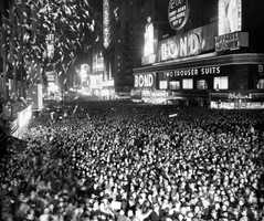 The original Times Square Ball was replaced in 1920. The second ball, which was iron, 400 pounds and 5 feet in diameter, was replaced in 1955.The third version was aluminum and just 150 pounds.This shot shows 1950's celebration.