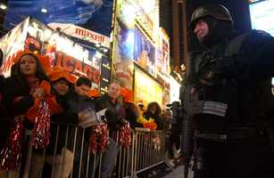 Heavily armed officers keep the oft rowdy crowds safe and in check.