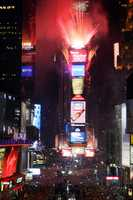 Fireworks light up Times Square at the start of 2005.