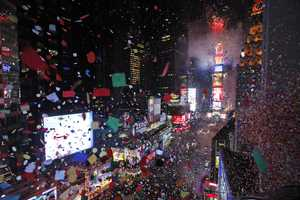 There are no champagne toasts at a Times Square on New Years. No alcohol is allowed and NYC law bans open containers.
