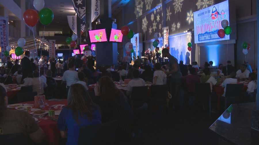 Hundreds of kids from community centers throughout the region were in Foxborough Tuesday for the New England Patriots Charitable Foundation's annual Children's Holiday Party.