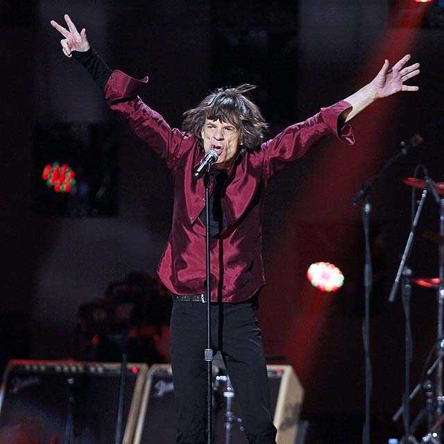 """""""This has got to be the largest collection of old English musicians ever assembled in Madison Square Garden,"""" said Mick Jagger of The Rolling Stones, who performed two songs. """"If it rains in London, you've got to come and help us."""""""