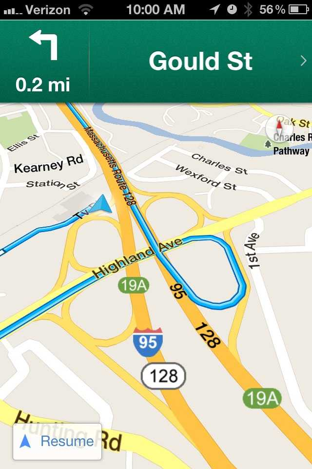 The app features turn-by-turn directions.