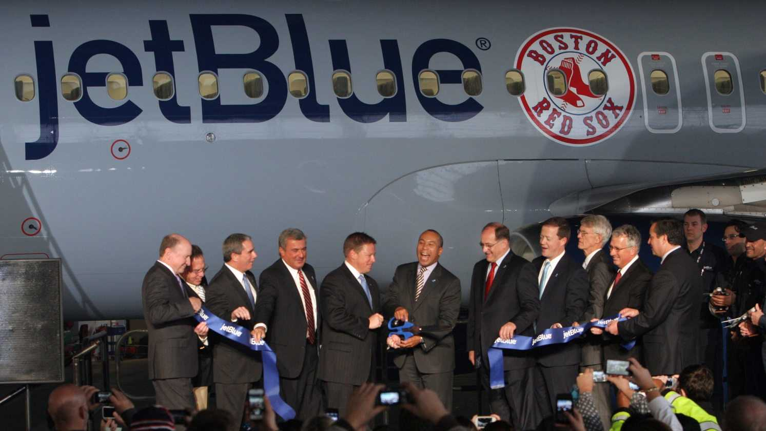 jetBlue held a a ribbon cutting ceremony to celebrate the airline's move to historic Hangar 8 at Logan International Airport in Boston, Monday, Dec. 10, 2012.