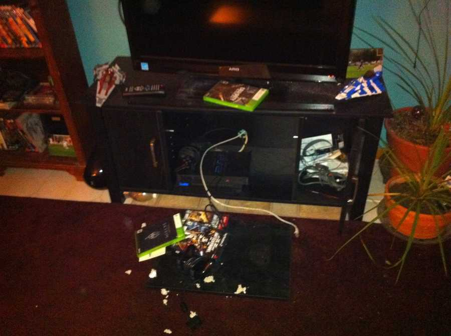 The basement of the house where some of the game systems were ripped out