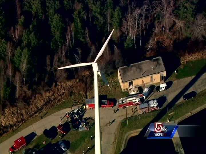 Firefighters from Hanover and nearby communities are attempting to rescue a worker who fell into the town's new wind turbine. The victim is reportedly a 53-year-old man who fell 40 feet into the structure at around 9 a.m. Friday.