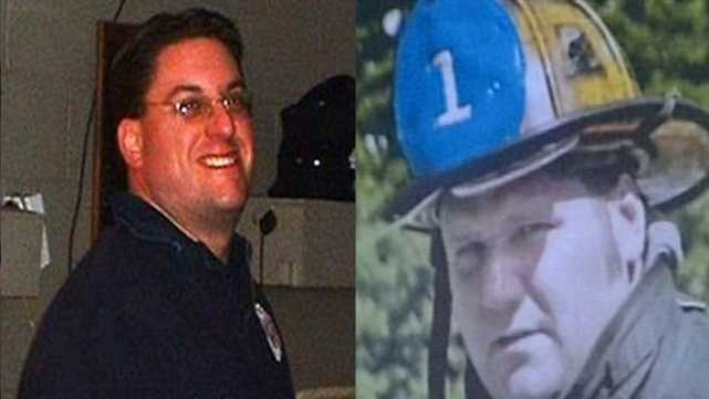 Firefighters James Rice, left, and Jon Davies, right, were killed in separate fires in Dec. 2011.
