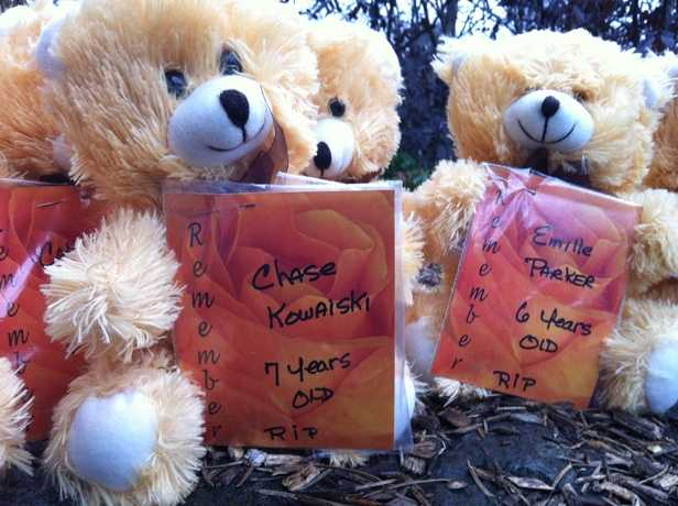A teddy bear for each child was also left at the memorial