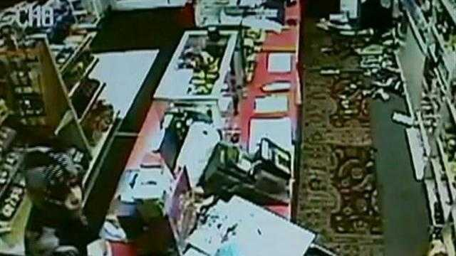 A store clerk in New Bedford trying to fend off two robbers -- one wielding a giant samurai sword!