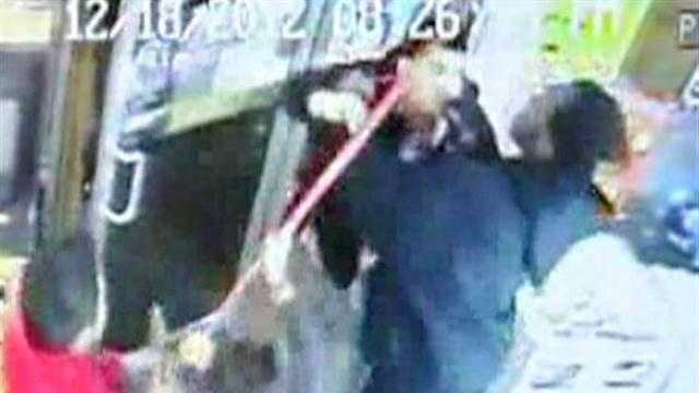 A Brockton store owner used a broom to fight off a would-be robber.