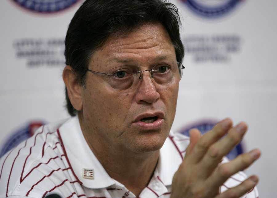 Carlton Fisk speaks during a news conference before the start of the 2007 Little League World Series in South Williamsport, Pa., on Aug. 17, 2007.