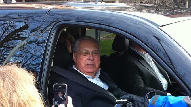 Boston Mayor Tom Menino leaves Spaulding Rehabilitation Hospital in Boston on Sunday, December 23, 2012.