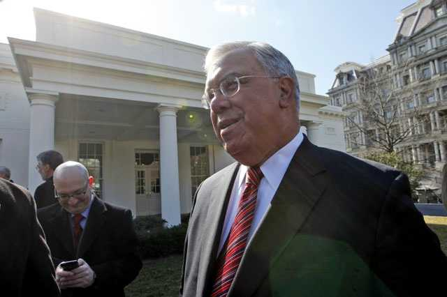 Boston Mayor Thomas Menino is pictured outside of the West Wing of the White House in Washington after he and others mayors, met with President Barack Obama, Feb. 20, 2009.