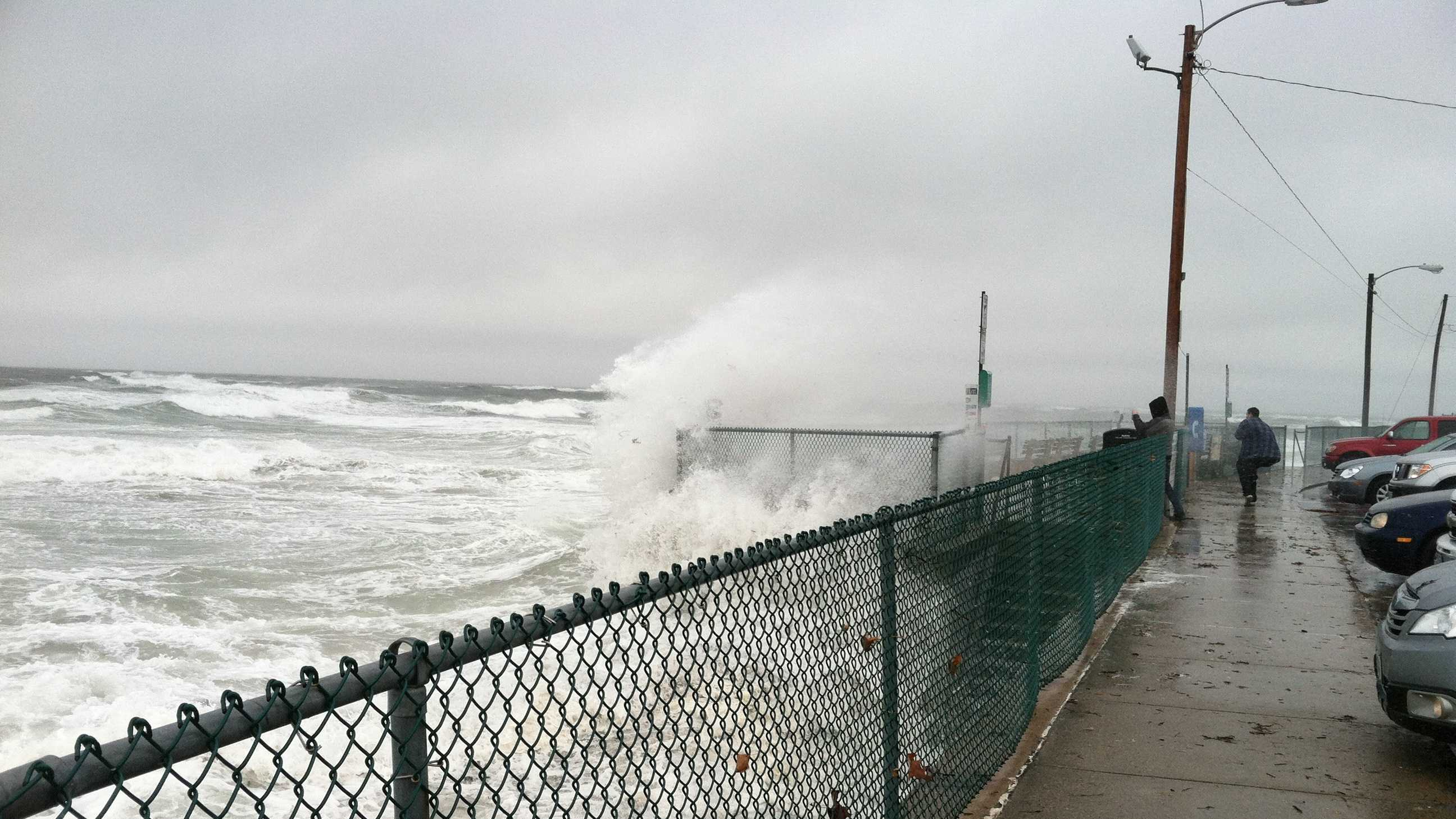 Sandy sweeps into Maine with strong winds, rain and high surf. The storm leaves several thousand people in Southern Maine in the dark.
