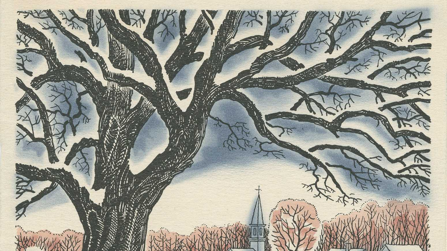 In this photo provided by Dartmouth College, one of Robert Frost's Christmas cards is seen. Famed poet Frost once waited until July to send his Christmas cards.