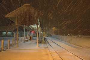 An empty train platform Saturday night in Stoughton.