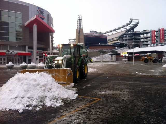Clearing the snow at Gillette Stadium in Foxborough