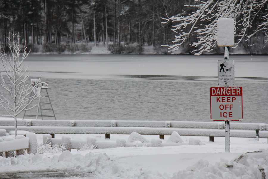 Ice covers Houghton's Pond at Blue Hills