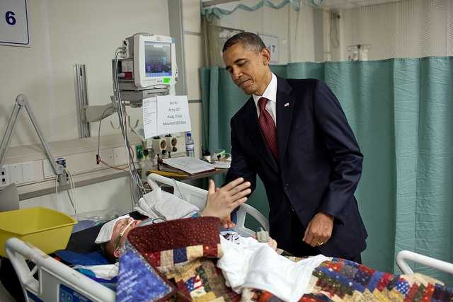 May 1, 2012 -- He was visiting wounded warriors in the intensive care unit at Bagram Air Field in Afghanistan. He had just presented a Purple Heart to Sgt. Chase Haag,. The President whispered in his ear so not to wake him. Just then, there was a rustling under the blanket and Sgt. Haag, eyes still closed, reached his hand out to shake hands with the President.
