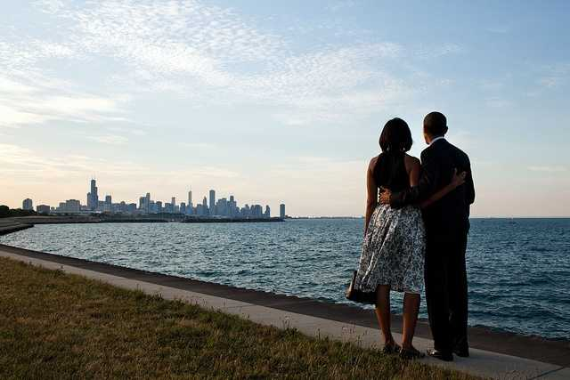 June 15, 2012 -- We had just arrived at the helicopter landing zone in Chicago and instead of walking right to the motorcade, the President and First Lady walked past their vehicle to the edge of Lake Michigan to view the skyline of their home town.