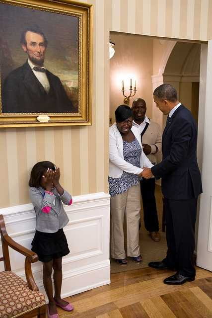 Aug. 8, 2012 Overcome with emotion, eight-year old Make-A-Wish child Janiya Penny reacts just after meeting the President as he welcomes her family to the Oval Office.