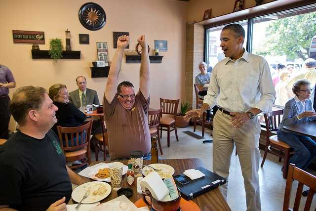 Aug. 14, 2012 How about a White House beer? The President was greeting patrons at Coffee Connection in Knoxville, Iowa, when this customer asked him about the White House beer. The President said he thought he might have some on his campaign bus and asked an aide to check. A few minutes later, the President delivered a bottle and the customer reacted in celebration.