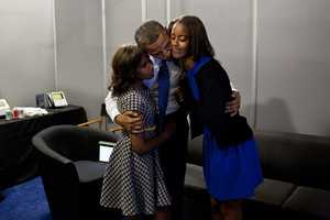 Sept. 6, 2012 - While the President was waiting anxiously backstage before his speech at the Democratic National Convention in Charlotte, N.C., daughters Malia and Sasha came in to wish him well.