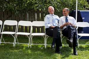 Sept. 7, 2012 The President and Vice President share a laugh before a campaign rally together in Portsmouth, N.H.