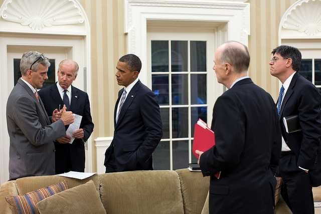 Sept. 11, 2012 - Denis McDonough, Deputy National Security Advisor, left, updates the President and Vice President on the situation in the Middle East and North Africa. National Security Advisor Tom Donilon and Chief of Staff Jack Lew are at right.