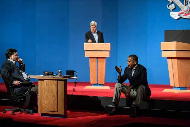 Oct. 2, 2012 The President talks with Ron Klain during debate preparations in Henderson, Nev. Sen. John Kerry, D-Mass., background, played the role of Gov. Mitt Romney during the prep sessions.