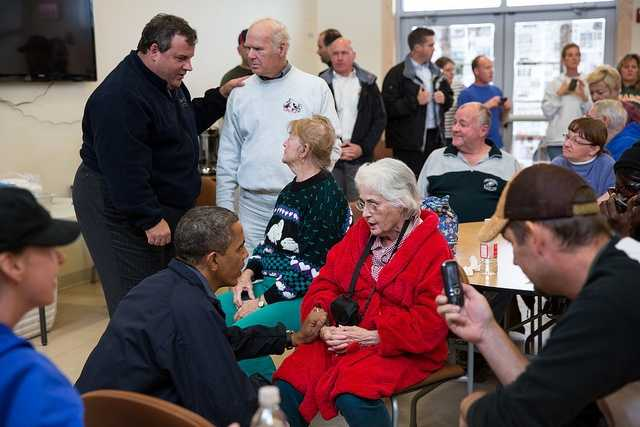 Oct. 31, 2012 - The President and New Jersey Gov. Chris Christie talk with local residents affected by Hurricane Sandy at the Brigantine Beach Community Center in Brigantine, N.J.""