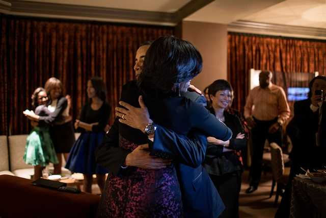 Nov. 6, 2012 (Election Day) The Obama family and close friends were watching election results at a Chicago hotel. The President had warned everyone that it could be a very late night. Yet, only a few minutes later, the networks projected that he had been re-elected, and the President embraced the First Lady, while in the background, daughter Sasha hugged one of her cousins.""