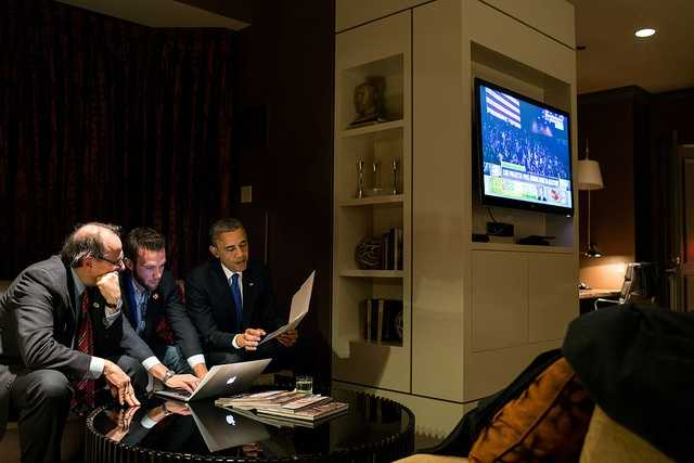 "Nov. 6, 2012 (Election Day) ""While he waited for the concession call from Gov. Mitt Romney, the President worked on his acceptance speech with Jon Favreau, Director of Speechwriting, and campaign advisor David Axelrod at a Chicago hotel."""