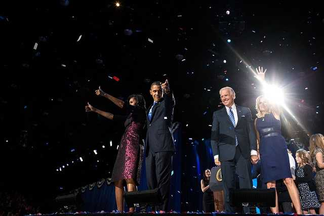 Nov. 6, 2012 (Election Day) David Lienemann captured the Obamas and Bidens following the President's election night remarks at McCormick Place in Chicago.""