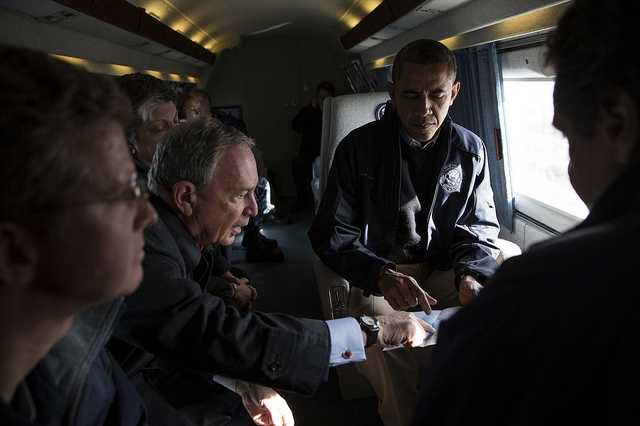 Nov. 15, 2012 New York City Mayor Michael Bloomberg views a map with the President during an aerial tour to view damage from Hurricane Sandy in Breezy Point, the Rockaways and Staten Island in NYC. Also onboard were New York Gov. Andrew Cuomo, Shaun Donovan, Secretary of Housing and Urban Development, Janet Napolitano, Homeland Security Secretary.