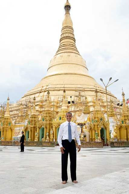 Nov. 19, 2012 To some, this is just a snapshot and doesn't belong in this gallery of candid photographs from the year. But to me, it evokes what the trip to Burma was all about. Here is the President, shoes and socks off in respect, posing like an American tourist in front of the oldest pagoda in the world in a country that no U.S. President had ever been able to visit.