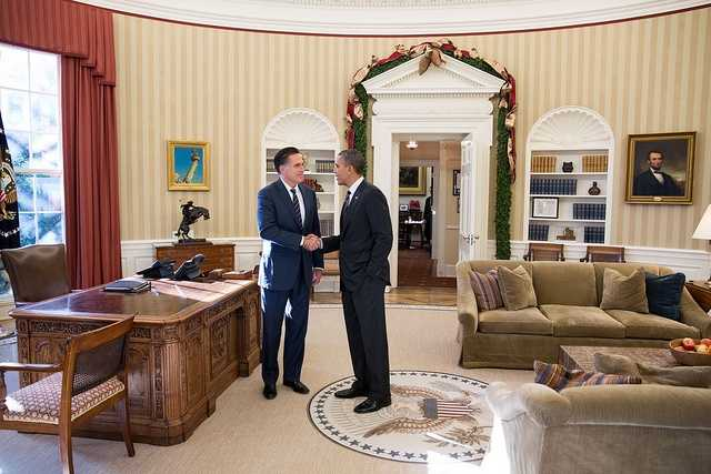 Nov. 29, 2012 There is closure in this photograph. I suspect that neither man really wanted to have lunch with the other, but they both knew the importance for the American people in seeing them do so. Here, the President bids farewell to former Massachusetts Gov. Mitt Romney following their lunch.