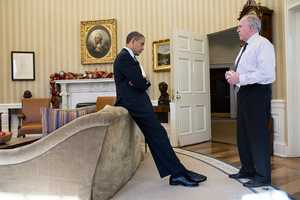 Dec. 14, 2012 The President reacts as John Brennan briefs him on the details of the shootings at Sandy Hook Elementary School in Newtown, Conn. The President later said during a TV interview that this was the worst day of his Presidency.