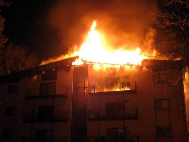 The fire started on the fourth floor of the Woodcrest complex, firefighters said.