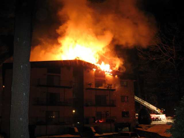 The fire at 181 Littleton Road broke out just after 11 p.m. Saturday.