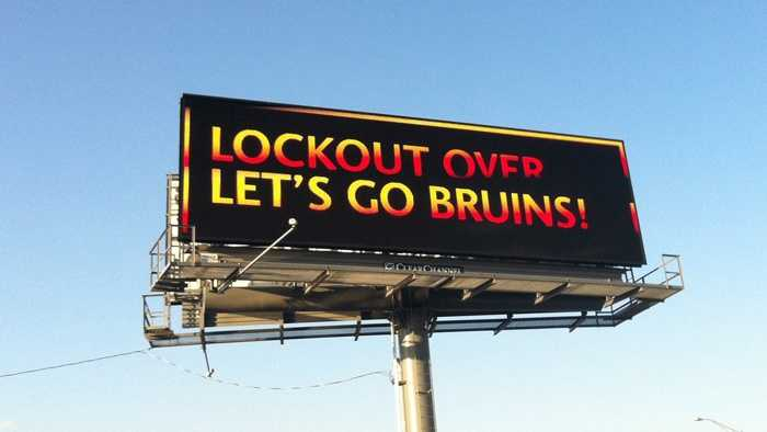 A billboard acknowledging a tentative end to the NHL lockout is visible to motorists on Interstate 93 in Medford on Sunday, Jan. 6, 2013.