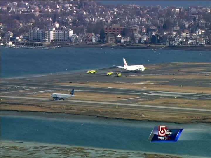 A Japan Airlines 787 scheduled to take off from Boston's Logan International Airport was stopped after fuel was discovered leaking from the plane.