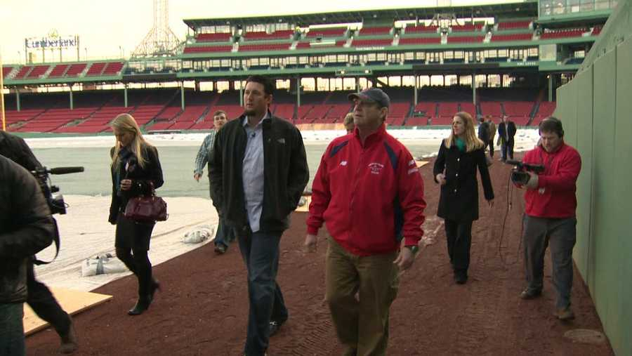 With the Boston press following his every step, Hanrahan got a tour of the scoreboard in the Green Monster.