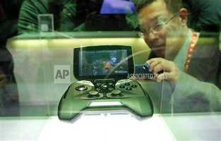 NVIDIA's portable handheld gaming device, the Project Shield, is on display.